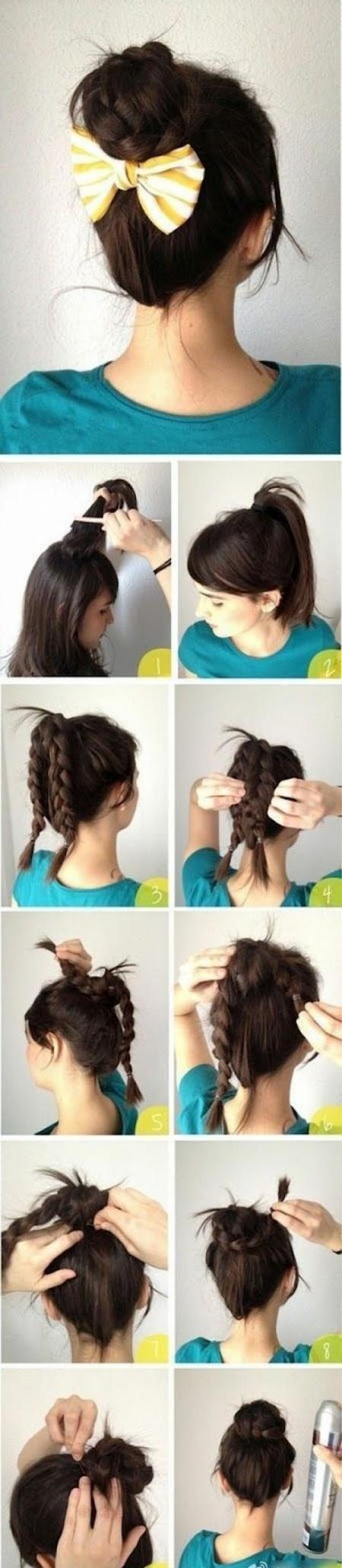 Как из средних волос быстро сделать прическу